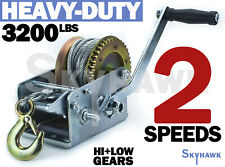 3200lb Braided Steel Cable HAND WINCH for Trailer/Boat w/ Mooring Hook