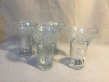 Four Crystal Clear, Frosted Rose Embossed Glass/Vase Indonesia New