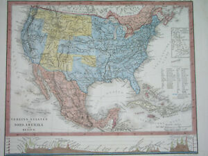 1873 ORIGINAL MAP TEXAS Houston UNITED STATES WASHINGTON NEW YORK CALIFORNIA