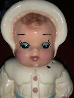 "Vintage 7"" Hand Painted BABY Doll In Bonnet CERAMIC PLANTER Vase Nursery"
