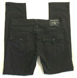 MENS 37 X 33 TRUE RELIGION ROCCO RELAXED SKINNY BLACK JEANS w/ BACK FLAP POCKETS