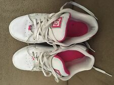 DC women's skateboard shoe.  Size 8M. White with pink.