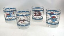 4 Different RARE Vintage PEPSI COLA Stained Glass Tiffany BLUE DIAMOND Glasses