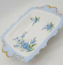 Royal Albert Memory Lane Dish Small Trinket Square Gold Rim Blue Floral Flowers