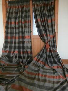 "Bespoke LONG Striped Faux Silk Curtains 160""Drop.CLEANED Blackout. Free Postage"