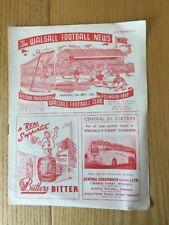 Walsall v Darlington Football Programme 25 September 1958 - 1958/59