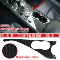 Carbon Fiber Interior Water Cup Holder Panel Trim Cover For Infiniti Q50 2014-19