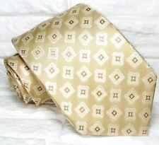 Cravatta Jacquard geometrica uomo beige 100% seta Nuova Made in Italy marca TRE