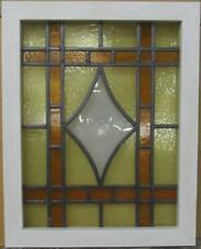 "MIDSIZE OLD ENGLISH LEADED STAINED GLASS WINDOW Diamond Bullseye 19.25"" x 24.25"""