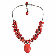 Red Clusters Howlite Oval Pendant Necklace
