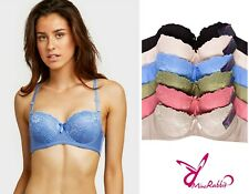 Lot of 6 Women Demi Cup Lace Strapless Underwire Support Bra B cup C cup 32 - 40