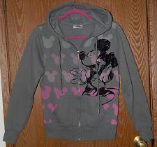 Micky Mouse Juniors Large (L) Gray Sweatshirt Hoodie Fleece & Velvet DisneyWorld