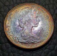 Toned Silver 1967 Canada 50 Cents Half Dollar