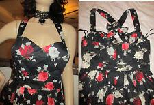 XL Retro Hell Bunny dress Rose print halter Bow on back & zipper Stretchy fabric