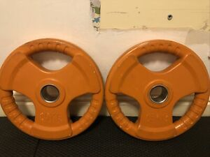 "2x 15kg Olympic Rubber Radial Weight Disc Plates Tri-Grip 2"" Hole (30kg Total)"