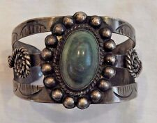 Vintage Mexican Silver and Turquoise Cuff Bracelet
