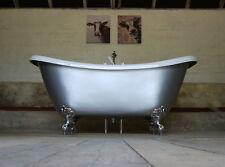 PHOENIX BATEAU SLIPPER ROLL TOP BATH PAINTED IN SILVER LUSTRE WITH WASTE PLUG
