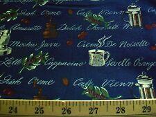 COFFEE DESIGNS ON NAVY BLUE COTTON QUILT FABRIC - CAPPUCINO - MOCHA - LATTE