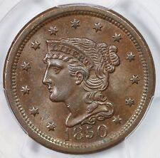 1850 N-13 R-3+ Pcgs Ms 63 Bn Braided Hair Large Cent Coin 1c