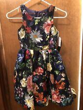 Nwt Ava & Yelly Girl's Floral Print Dress Size 8 Scalloped Hem