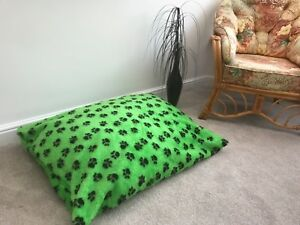 Dog Bed Floor Cushion Fur Bean Bag Green Paw Dog Bed Posh Pooch Made In The UK