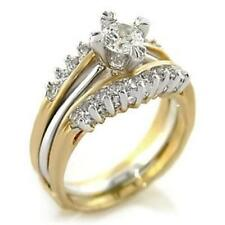 Gold Plated Wedding Anniversary Ring Set 1.03ct Round cut Cz Womens Two Tone