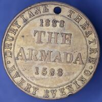 British Token - 1888 Drury Lane Theatre Token, Armada, Augustus Harris [11465]