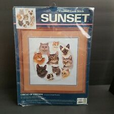 Sunset Circle of Friends Cat Counted Cross Stitch Kit 13628 Sealed New