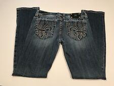 MISS ME Size 29  Embellished Thick Stitch Fleur De Lis Jeans Womens
