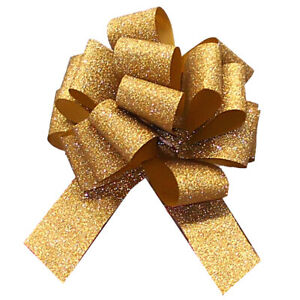 GLITTERY GOLD PULL BOWS - Christmas Gift Basket Hamper Sparkle Party Ribbon Bows