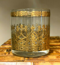 Vintage Culver Espana Whiskey Rocks 22K Gold Barware Glass Glasses Mcm