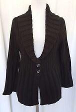 Black Ribbed Cardigan Sweater 3/4 Sleeve 2 Button Closure Black Market  Size  L