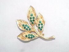 Vintage Green Emerald Rhinestone Spray Leaf Gold Plate Textured Brooch Pin