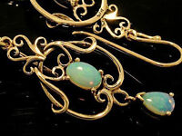 E040- Genuine 9K 9ct Solid Rose / Pink Gold NATURAL Real Opal FILIGREE Earrings