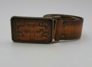 Vintage 70s Levi's Strauss Leather Buckle & Belt Cognac Brown 38 USA Made NICE!!