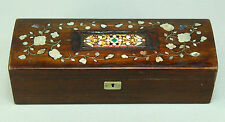 !Antique FINE Rosewood Box w. Mother-of-Pearl Inlay & PIETRA DURA Micro-Mosaic
