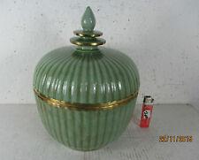 große Porzellan Schüssel Deckelgefäß China vor 1970 Celadon grün BOWL 28cm Dose