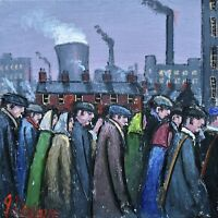 Superb James Downie Original Oil Painting - The Workforce (Northern Art)