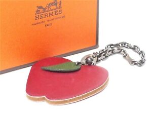 Authentic Hermes Leather Bag Charm Key Chain Apple 18633558