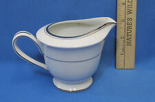 Sango Dion Creamer Pitcher China Pottery Porcelain White Silvertone Edging Japan