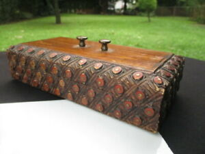ANTIQUE CARVED WOOD BOX STASH JEWELRY EUROPEAN FOLK ART BRASS STUDS IN DESIGN
