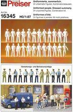 Preiser 16345 H0 Figuren uniformierte sommerlich 24x Unbemalt