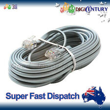 10m 6P4C RJ11 RJ12 Telephone ADSL Straight Pin Line Cord Cable Grey Made in AU