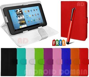 """Plain Book Magnetic Case Stand for 7"""" Inch LENOVO IDEA TAB A2 107, Free Stylus"""