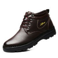 Mens Winter Pu Leather Warm Boots Lace Up Fur Lined Ankle Waterproof Non-slip