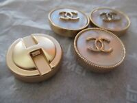 Chanel 4 Buttons 22mm Lot Of 2 Mother Of Pearl Gold Tone Cc Logo Lot 4