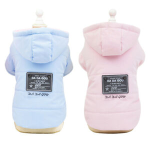 Small Dog Winter Coat Hoodie Jacket Pink Blue Chihuahua Clothes Apparel Yorkie