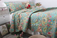 3 PCS GreenBedspread Quilt Coverlet Set Shabby Chic Floral Cotton Queen Size H28