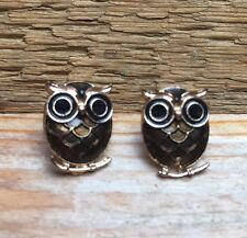 Cute Retro Owl Stud Earrings/Enamel Effect/Gold Tone/Pierced/Kitsch/ Birds