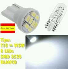 2 bombillas led matricula interior posicion blanco T10 W5W con 8 LED SMD 3528